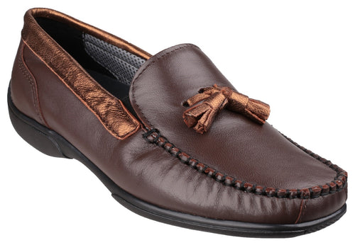 Brown/Gold Biddlestone Slip On Loafer Shoe