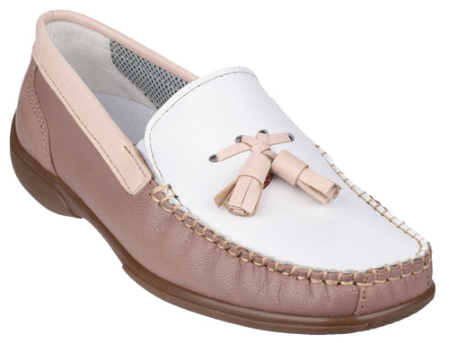 White/Beige/Tan Biddlestone Slip On Loafer Shoe