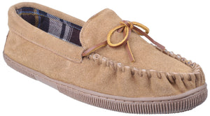 Beige Alberta Slip On Moccasin Slipper