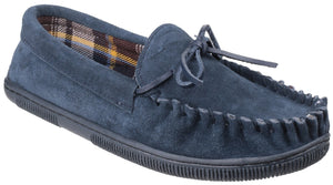 Navy Alberta Slip On Moccasin Slipper
