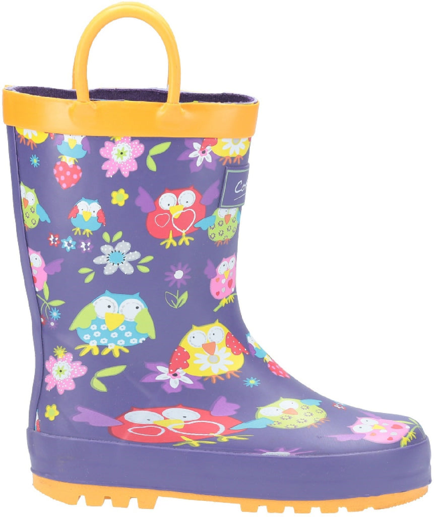 Puddle Waterproof Pull On Boot Owl