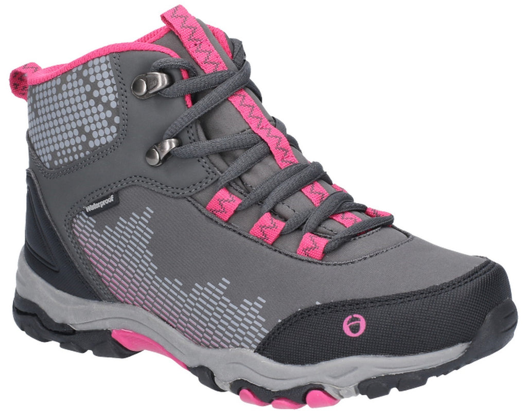 Ducklington Lace Up Hiking Waterproof Boot Grey/Pink
