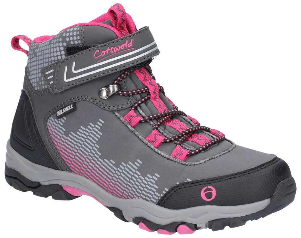Ducklington Touch Fastening Hiking Waterproof Boot Grey/Pink