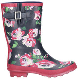 Paxford Elasticated Mid Calf Wellington Boot Black/Flower