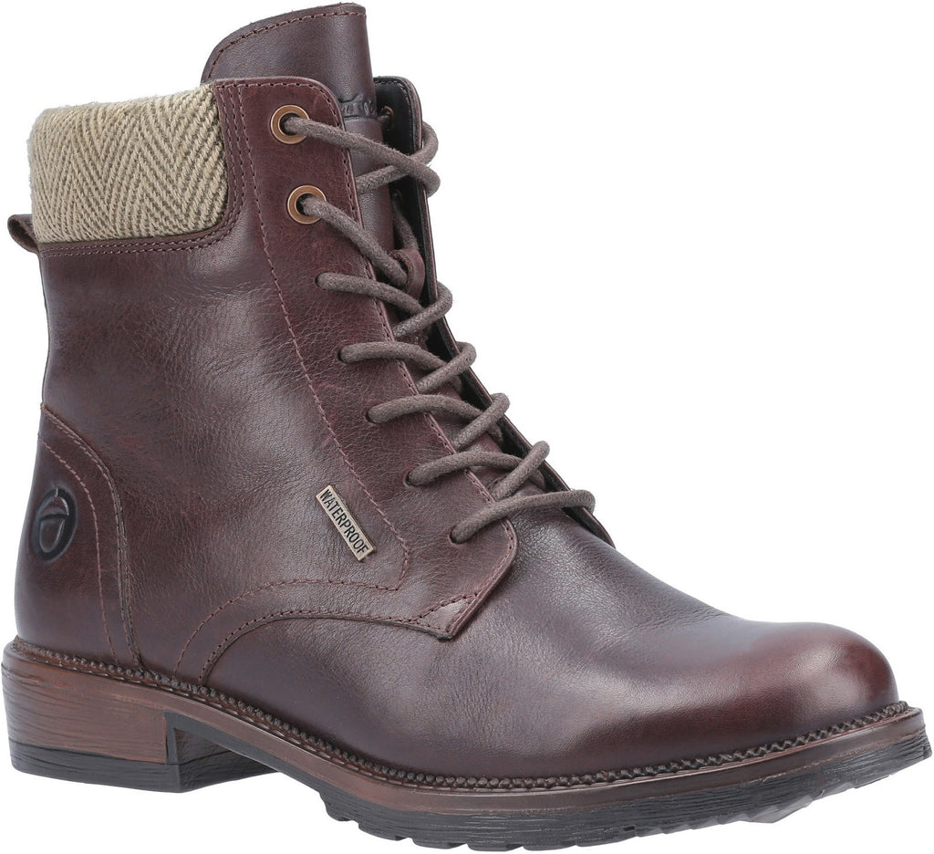 Minety High Top Lace Up Ankle Boot Brown