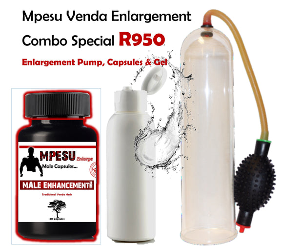 -20 % Mpesu Venda Herb Capsules, Enlargement Pump & FREE Enlargement Gel Combo Special - National Male Clinic