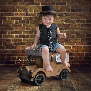 Digital newborn backdrop brown background Vintage car