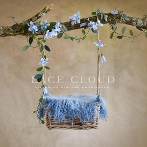 Digital backdrop blue flowers basket swing
