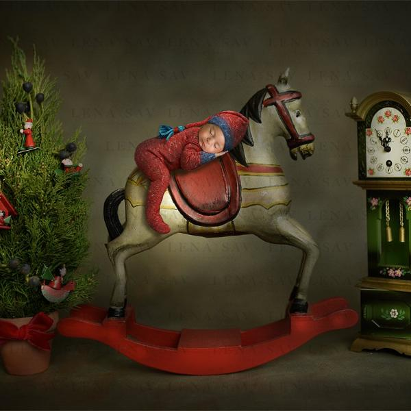 Wooden christmas horse Digital backdrop
