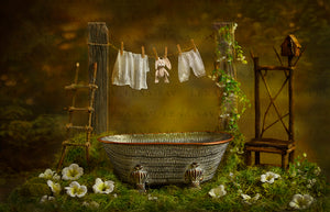 Digital backdrop Garden bathtub