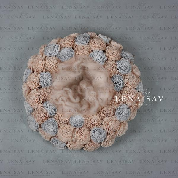 Digital backdrop baby boy or girl  wreath  peach blue flower nest