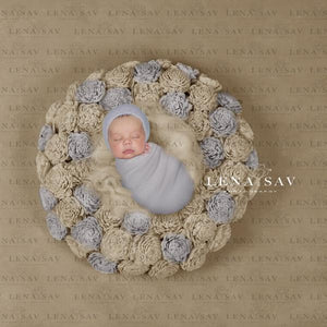 Digital backdrop baby boy or girl  wreath  beige blue flower nest