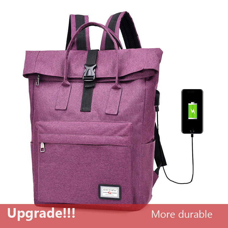 Women Girls Backpack USB Charging Nylon Backpacks School Bags