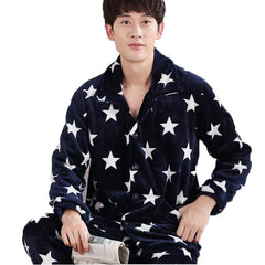 Mens Pajama Sets O-Neck Long Sleeve