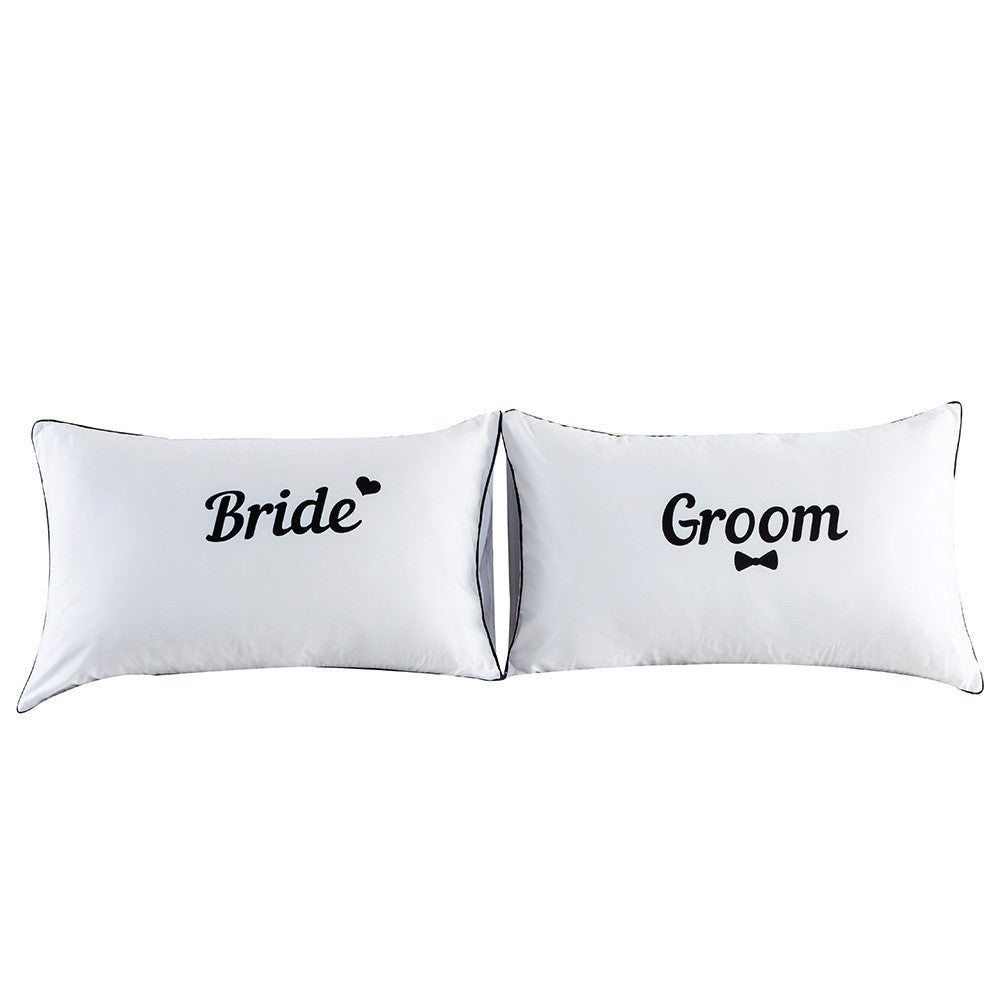 Set of 2 Couples Pillow Cases Letters Printed Pillowcases Bedding  Wedding