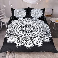 BeddingOutlet Mandala Print Bedding Set Queen Size Floral Duvet Cover Black and White Bohemian Bedclothes Lotus Bed Set