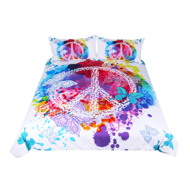 BeddingOutlet Watercolor Butterfly Bedding Set Colorful Quilt Cover With Pillowcases Peace Design Bed Set 3-Piece