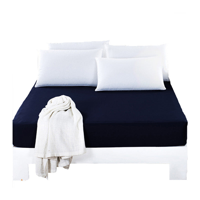 BeddingOutlet Mattress Cover Fitted Sheet Bedding Bed Sheet Solid Color Navy Blue Mattress Protector Cotton 3 Size