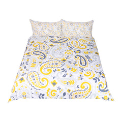 BeddingOutlet Paisley Bedding Set Yellow Duvet Cover for Adults Boho Floral Leaf Bed Set 3-Piece Home Textiles