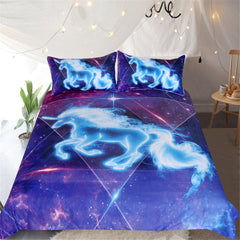 BeddingOutlet 3D Unicorn Bedding Set Galaxy Stars Duvet Cover for Kids Vivid Printed 3pcs Bedclothes Universe Blue Pink Bed Set