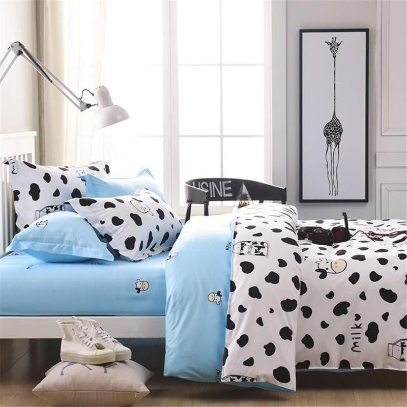 1.2m 2.2m Dairy Cow Pattern 4 Pcs Bedding Sets Bed Pillowcases Duvet Cover Set Quilt Cover Set Twin Queen King for Kids Student
