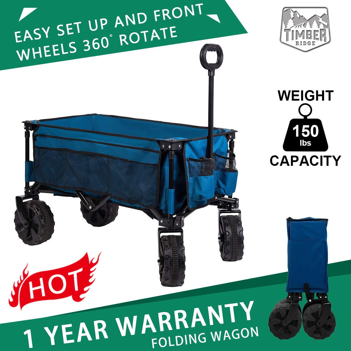 Collapsible Folding Utility Wagon Cart Sturdy Steel Frame