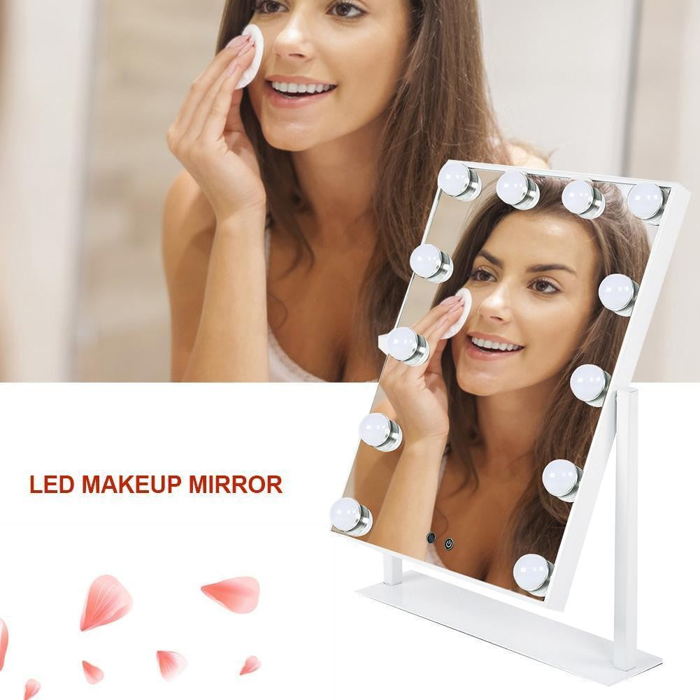 Hollywood Table Top Makeup Mirror with 12 LED Dimmable Bulb