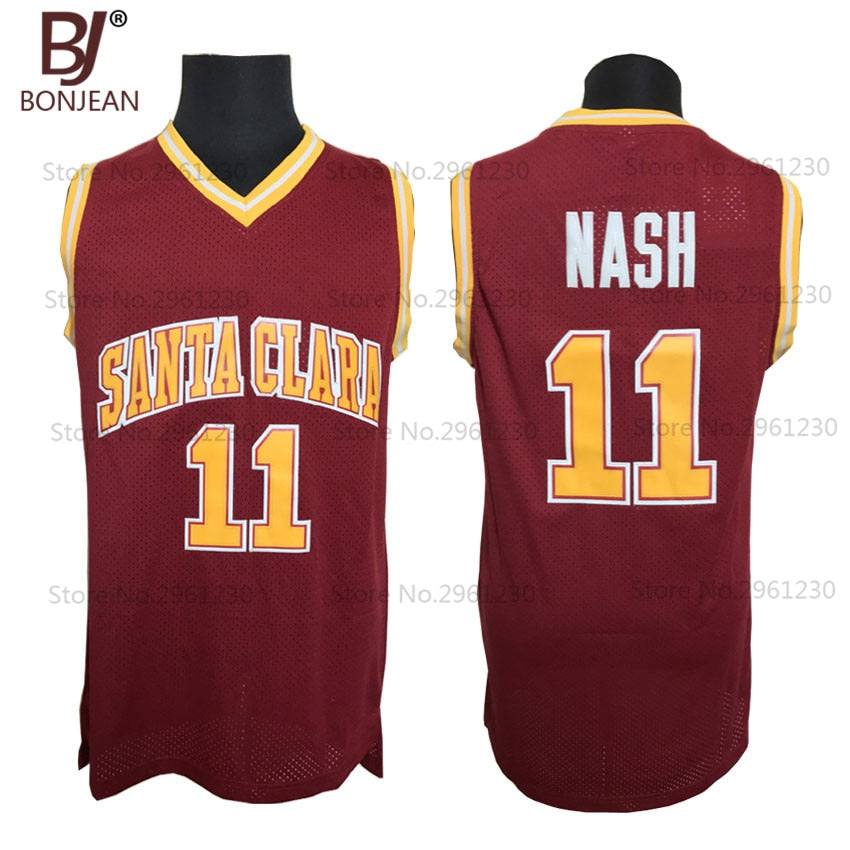 uk availability 890b2 03a8e Wholesale Cheap College Basketball Jerseys #11 Steve Nash Jersey Santa  Clara Throwback Stitched Burgundy Red Mens Shirts