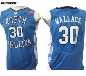 a6b4fdb1f DUEWEER Mens North Carolina Tar Heels Rasheed Wallace College Basketball  Jersey New Blue #30 Rasheed