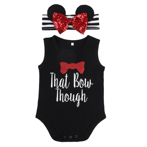 """That Bow Though"" Onesie and Matching Headband"