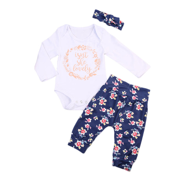 3PCS Newborn Baby Girl Clothes Set Long Sleeve Letter Print Cotton Romper Bodysuit +Floral Long Pant Headband Outfit Bebek Giyim