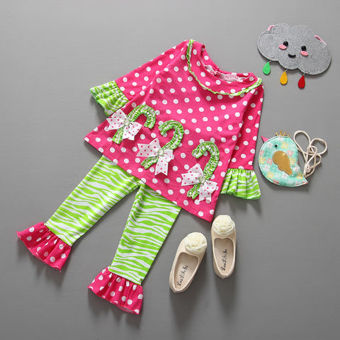 2016 Fashion Autumn Boutique Outfits Sets 2Pcs Children Stripes Girls Christmas Long sleeve Tops +Ruffle Pants Suits