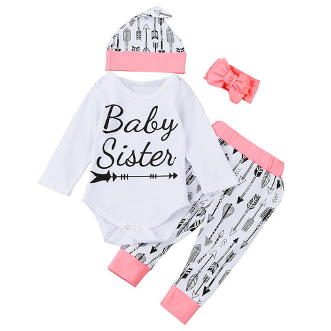 2017 Autumn Baby Set 4PCS Newborn Baby Little Girl Romper Arrow Baby Sister Tops +Long Pants+Hat+Headband Outfit Clothes Set