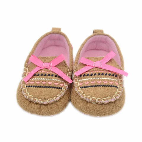 1Pair Baby Infant Kid Boy Girl Soft Bow Toddler shoes Sole Sneaker Toddler  Flocking fabric Shoes