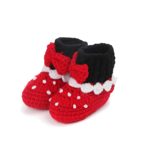 1Pair  Cute Baby Girls shoes for kids Crochet Handmade Knit baby girl shoeHigh-top Shoes