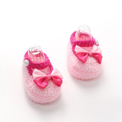 1Pair Cute Crib Crochet Casual Baby Girls Handmade Knit Sock Bow Infant  Woolen Shoes baby shoes for girls children footwear