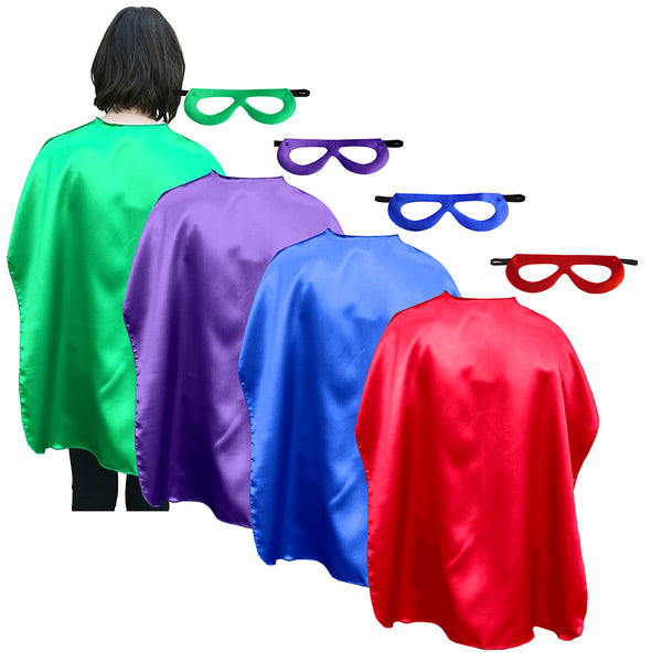 Adult Superhero Cape With Matching Mask Set Of 4