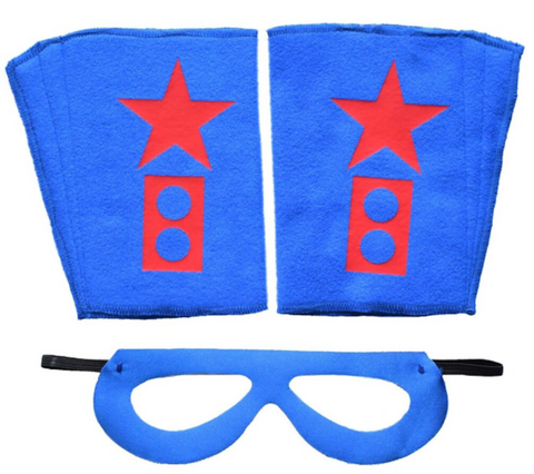 Superhero Mask And Cuffs Blue