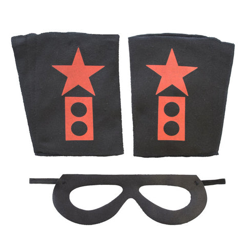 Superhero Mask And Cuffs Black