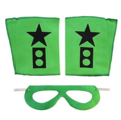 Superhero Mask And Cuffs Green