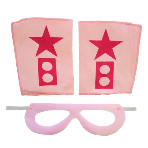 Superhero Mask And Cuffs Light Pink