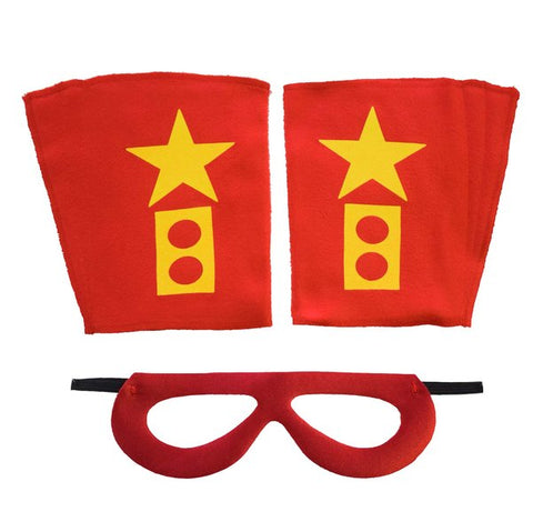 Superhero Mask And Cuffs Red