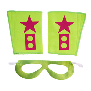 Superhero Mask And Cuffs Lime Green KaPow