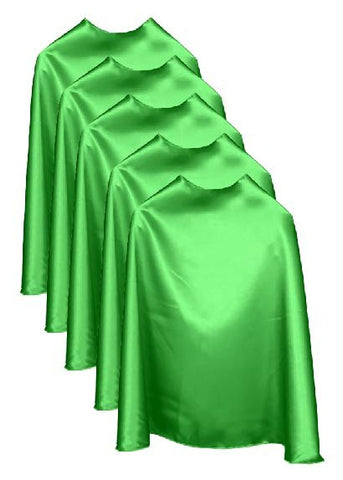 Five Green Bulk Superhero Capes