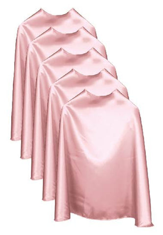 Five Light Pink Bulk Superhero Capes
