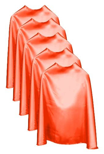 Five Orange Bulk Superhero Capes