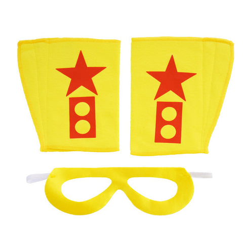 Superhero Mask And Cuffs Yellow Pow