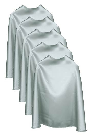 Five Silver Bulk Superhero Capes