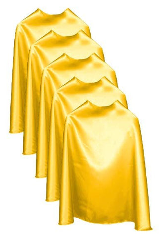 Five Yellow Bulk Superhero Capes