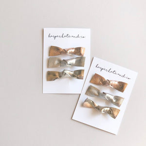 Leather Knot Clip Set - Metallics